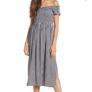 Bardot black Gingham midi dress size large